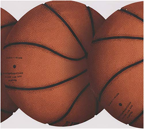 York Wallcoverings Orange Basketbälle Sport Wallpaper Border Retro Design, Roll-15' x 10''