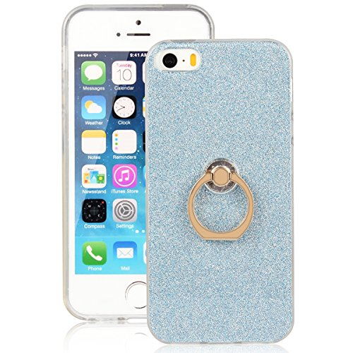 "Translucide Cover avec Kickstand Ring pour Apple iPhone 5G/5s/SE 4.0"", CLTPY Soft Gomme Shell dans Scintillate Glint Motif Antipoussière Anti-rayures Ultra Mince Léger Fit pour iPhone 5G,iPhone 5s,iPh Bleu 1"