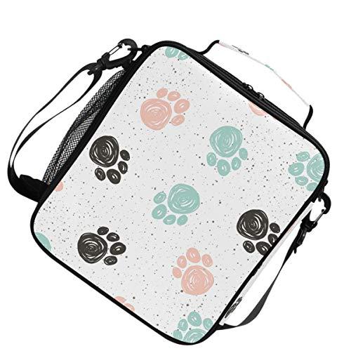 Isolierte Schulter verstellbarer Gurt Wärmer Kühler Lunchpaket Schwarz Blau Rosa Abstrakt Hund Pfote Track für Picknick -