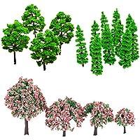 MagiDeal 1 Paquete de 24 Piezas Modelo de Árbol Tren Trunks de Escenario Paisaje Landscape de Plástico de 3 Estilos