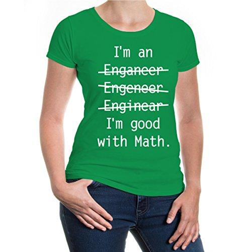 buXsbaum® Girlie T-Shirt Im an Engineer Kellygreen-White