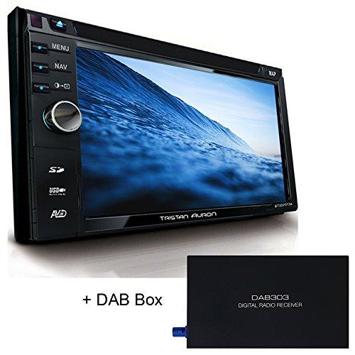 Tristan Auron BT2D7013A Autoradio + DAB300+ Box mit 6,5'' Touchscreen Bildschirm Navi Bluetooth Freisprecheinrichtung USB I SD Slot CD I DVD 2 Din DAB Plus DAB+ Lenkradsteuerung Rückfahrkamera Radio