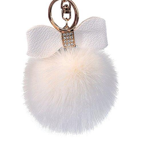 10CM Nette Schlüsselanhänger Keychain Anhänger Handtasche Geldbörse schlüsselbund Pompons hängen Plüsch Lonshell (Beige)