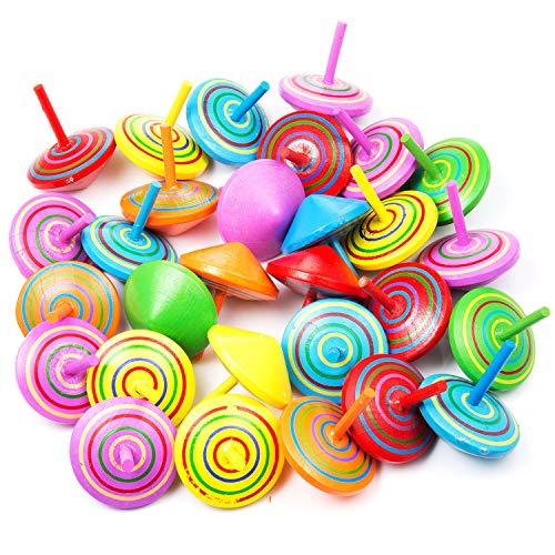 MOOKLIN 30 Stück Spielzeugkreisel aus Holz, Farbmischung Kreisel aus Holz Holzkreisel Spielzeugkreisel Mitgebsel, verschiedenen Mustern bieten einen tollen Effekt beim Drehen -