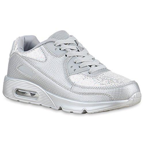 Damen Herren Unisex Laufschuhe Profil Sohle Sportschuhe Fitness Schuhe Hellgrau Glitzer
