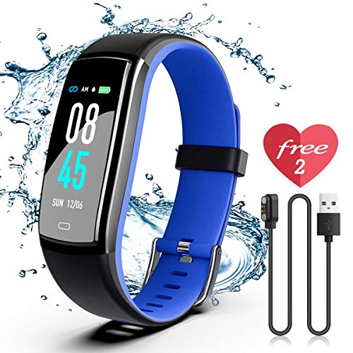 and mit Blutdruckmessung Pulsmesser, Fitness Tracker Uhr Wasserdicht IP67 Schrittzähler Uhr Stoppuhr Sport GPS Aktivitätstracker Schlafüberwachung Anruf SMS für Kinder Damen Männer ()