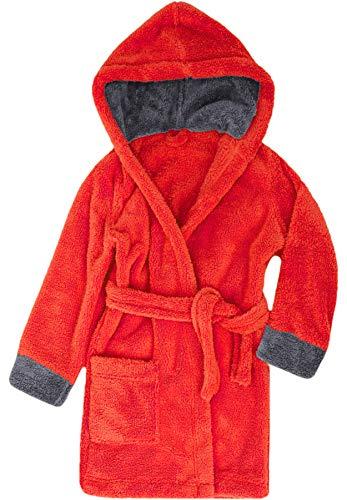 Timone Kinder Bademantel Kids(Rot/Graphite, 110-116) - Schalkragen Frottee-bademantel