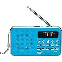 iMinker portátil Mini Digital Puerto del disco de tarjetas USB FM altavoz de radio Medios reproductor de música MP3 TF / SD para la PC iPod Teléfono con pantalla LCD y la batería recargable (Azul)
