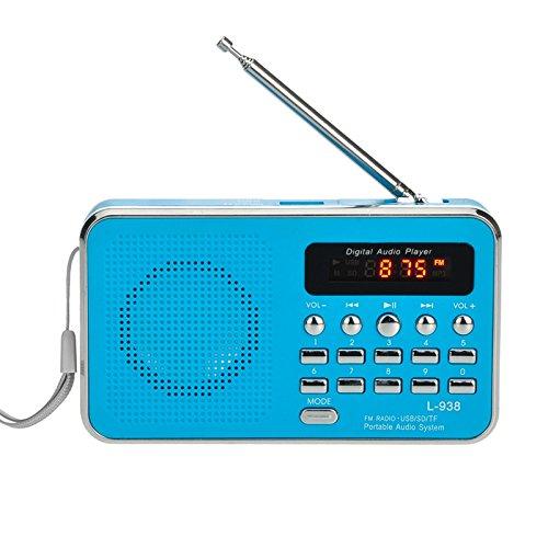iMinker Mini-Digital-beweglicher FM Radio tragbares Lautsprecher MP3-Musik-Spieler TF/SD Karte USB-Scheiben-Hafen für PC iPod-Telefon mit LED-Anzeige und Akku (Blau)
