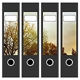 4 x Akten-Ordner Etiketten / Aufkleber / Rücken Sticker / mit Design Motiv Bäume im Herbst / für breite Ordner / selbstklebend / 6cm breit