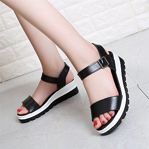 XY&GKDamen Sommer Sandalen Hang mit dicken Sohlen Muffin wasserdicht All-Match Heel Sandalen Schuhe 36 black