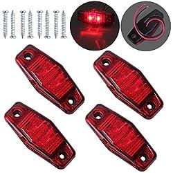 Justech 10 Pcs 2LEDs Side Marker Lights Side Fender Marker Waterproof LED Side Lamps 12V 24V For Trailer Van Caravan Truck Lorry Car Bus Amber+Red