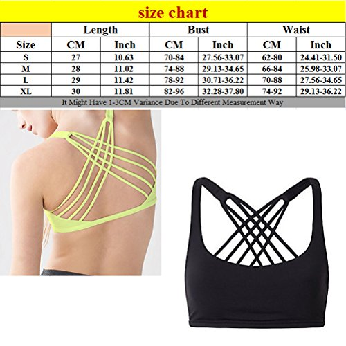 Zhhlinyuan Womens Workout Running Gym Yoga Simple Comfort Sport Bra YBM Black
