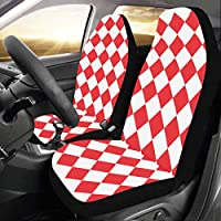 Enhusk Geometrical Diamond Pattern Custom New Universal Fit Auto Drive Car Seat Covers Protector For Women Automobile Jeep Truck Suv Vehicle Full Set Accessories For Adult Baby (set Of 2 Front)
