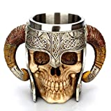 Halloween Totenkopf Trinkbecher Kaffeebecher Edelstahl Harz 3D Totenkopf Tasse Bierkrug für Halloween Bar Party Horror Decor – Halloween Geschenke J6