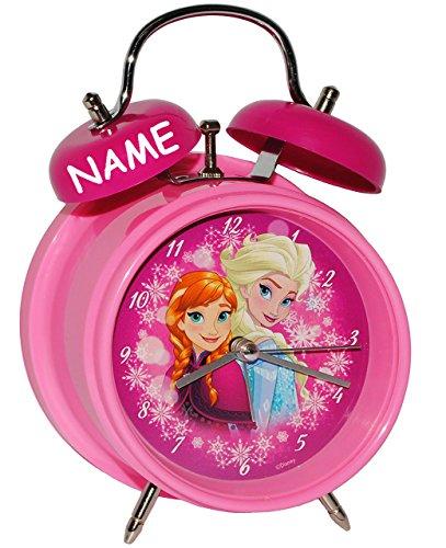 Unbekannt Kinderwecker -  Disney die Eiskönigin - Frozen  - incl. Name - für Kinder - großer Wecker - Metall / Kunststoff - für Mädchen - Analog - Quarzwecker - Alarm..