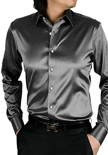 MISSEUROUS Männer - mode Glänzt Regelmäßig Fit Einfarbig Tanz Aus Seide Wie Hemd (XXL, Grau) (Seide Aus Hemden Casual)