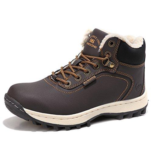 Sixspace Herren Schneestiefel Winterstiefel Warm Gefütterte Winterschuhe Stiefelette Outdoor Boots,Dunkelbraun 44 EU (Winter-wetter-stiefel)