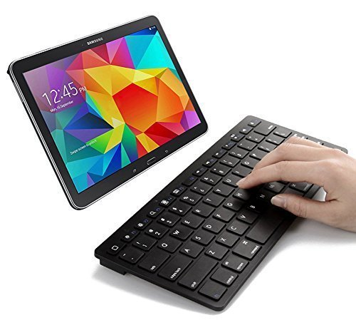 SPARIN® Ultra Slim Mini Bluetooth Keyboard for Samsung Galaxy Tab A (9.7, 8.0 Inch), Samsung Galaxy Tab 4 (10.1, 8.0, 7.0 Inch), Samsung Galaxy Tab S (10.5, 8.4 Inch), Galaxy Tab Pro (12.2, 10.1, 8.4 Inch), Galaxy Note Pro 12.2 Inch, Note 10.1 2014 Edition, Galaxy Tab 3, Galaxy Tab 2, Galaxy Note 8.0, Galaxy Note 10.1 (2012 Edition) and other Android Tablets, Black