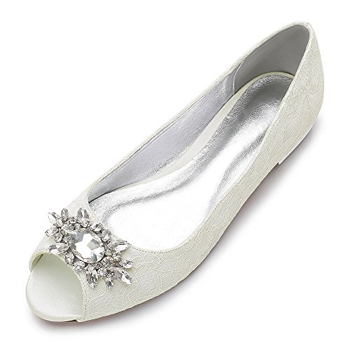 MarHermoso Damen Peep Toe Zehen Satin Lace Ivory Flache Brautschuhe