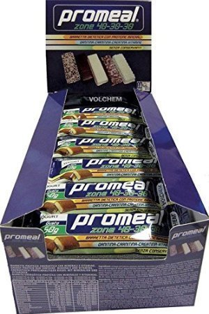Volchem Promeal Zone 40-30-30 Confezione da 24 Barrette Gusto Cereali Cacao