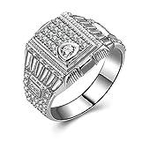 Bishilin Sterling Silber Ring Frauen Solitär Rund Brillant Weiß Zirkonia Silberringe Verlobungsring Eheringe Gr.66 (21.0)