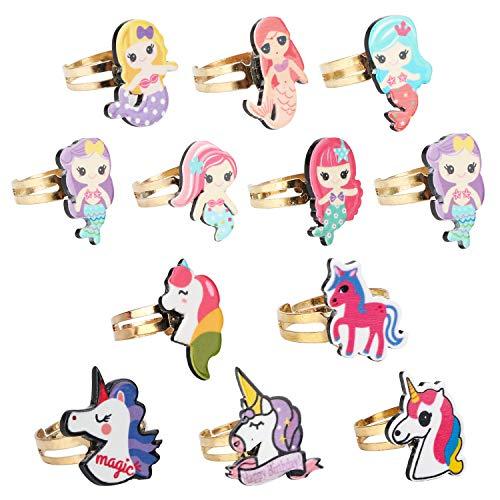 Mwoot anillo de unicornio niños, 12 piezas anillos regalos de cumpleaños para niños regalos de fiesta unicornio
