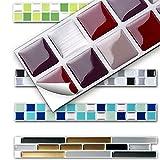 7 Stück 25,3 x 3,7 cm Wandora 3D Fliesenaufkleber W1431 viele Farben und Größen zur Auswahl Küche Bad Fliesenfolie selbstklebend rot beige silber Mosaik Design 2