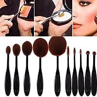 Amison 10pc/Set Professional Morbido Spazzolino da denti Sopracciglio Fondazione Eyeliner Labbro Ovale Spazzole Impostare