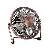 glamouric Metall-Tisch Mini Fan–USB leise Schreibtisch Fan Retro Design mit An-/Ausschalter gratis Winkel Rotation Persönlichen Fan für Arbeit Home Schule Reise (Bronze)