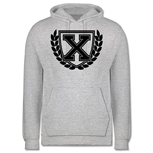 Anfangsbuchstaben - X Collegestyle - Männer Premium Kapuzenpullover / Hoodie Grau Meliert