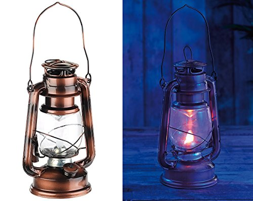 Lunartec LED Sturmlaterne: LED-Sturmleuchte im Öllampen-Design, Flammen-Imitation, bronzefarben (LED Sturmlampe)