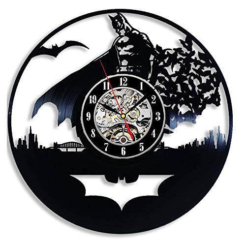 Cheemy Joint Detective Comics Heros Batman Horloge Murale en Vinyle LED 30,5 cm Lampe de Chevet créative avec 7 Couleurs de lumière, Vinyle, Modèle A4-2, 30 x 30 cm