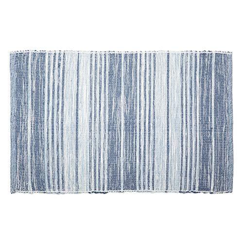 DII Moderner Wendeteppich aus recyceltem Garn, maschinenwaschbar, für Schlafzimmer, Wohnzimmer und Küche 2 x 3' French Blue Varigated Stripe