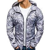 KPILP Herren Mode Herbst Winter Zip Lässige Tarnung Windjacke Slim Fit Hoodies Jacke Mantel(Grau, EU-50/CN-XL