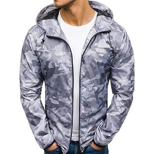 Herren Zip Hoodie Reißverschluss Camouflage Fleece Sport Fitness Training Sweatshirt Zipper Kapuzenpullover Langarmshirt Pullover Sweats Pulli Herbst Winter Jacke Mantel Outwear von Innerternet