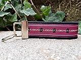Schlüsselanhänger Schlüsselband Wollfilz schwarz Webband Edelweiß violett beige Geschenk!