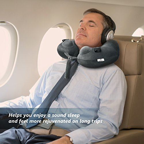 Travel Pillow of 2017, Jerrybox 10s World Fastest Inflatable Pillow with 2 Airbag for Neck Supporting, U-Shaped, 320 g, Light Grey