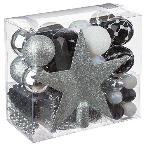 Kit decoración Navidad - 44 piezas para decorar el árbol; Guirnaldas, Bolas y Estrella - Tema color : Blanco, Plata Y negro