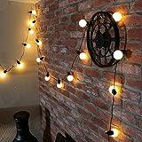 LED Party Lichterkette, 20 Party-Birnen mit schwarzen Fassungen auf 4,75m langem, dunkelgrünem Kabel, mit Stromanschluss für Außen- und Innenbetrieb, von Festive Lights (warmweiß)