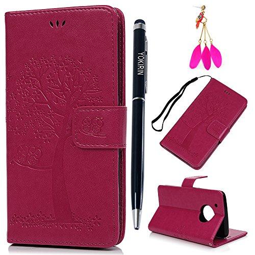 Motorola Moto G5 Plus Hülle YOKIRIN Case für Motorola Moto G5 Plus Lederhülle Etui Eule Baum PU Leder Schutzhülle Flip Bookcase Handyhülle Karte Halterung Magnetverschluss Tasche Rose Rote
