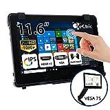 GeChic 11 Zoll Touch Screen Monitor 11,6 Zoll Tragbarer Touchscreen Monitor 10 Punkt Multitouch kapazitiv USB externer Touch-Bildschirm HDMI/ VGA 1080P FHD IPS Pi VESA 75 Mount Rear Dock On-Lap 1102I