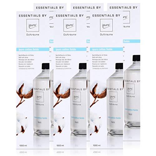Essentails by Ipuro cotton fields Refill 1000ml Nachfüllflasche - Sanft, dezent und leicht pudrig mit einem Hauch von Vanille (6er Pack)