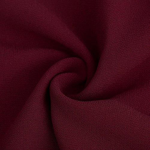 Hauts Femmes,Reaso En vrac Manche longue Mousseline de soie Décontractée Chemise Rouge