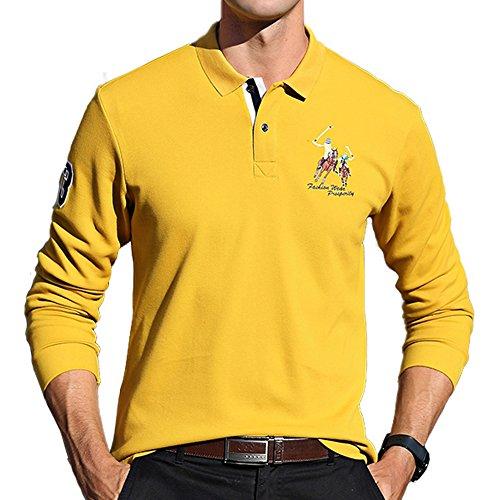 Pique Langarm Polo-shirt (BicRad Herren Polo Shirts Langarm Slim Fit Baumwolle Businesse Casual (Gelb, 52))
