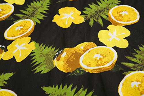 ZAMME Robes de fête vintage pour femmes Robe à fleurs imprimé floral Jaune