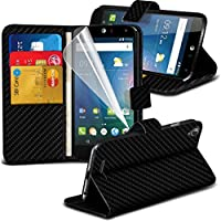 Fone-Case High Quality Black Carbon Fibre Acer Liquid Z630 custodia, caso, Case Cover Executive Wallet Book Style Cover Made From PU Leather with 3 Credit Card Holder slots, 1 Screen Protector and 1 Colour Coded Aluminium Adjustable Pen