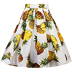 Falda de playa para mujeres, Falda plisada de la impresión de la piña de la moda del carnaval de las mujeres ABsolute (XXL, Blanco)