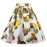 Longra Damen Elegante Faltenröcke Knielange Röcke A-Linien Röcke mit Ananas Druck Röcke Damen Festliche Mode Sommerröcke Taillenrock Shirtkleid für Carnival Damen Partykleid (White, S)