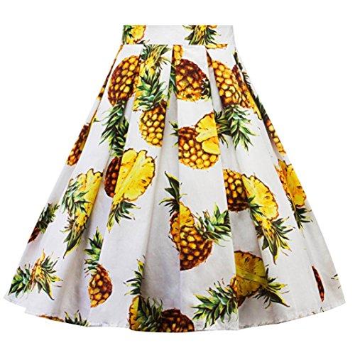 Longra Damen Elegante Faltenröcke Knielange Röcke A-Linien Röcke mit Ananas Druck Röcke Damen Festliche Mode Sommerröcke Taillenrock Shirtkleid für Carnival Damen Partykleid (White, 2XL)